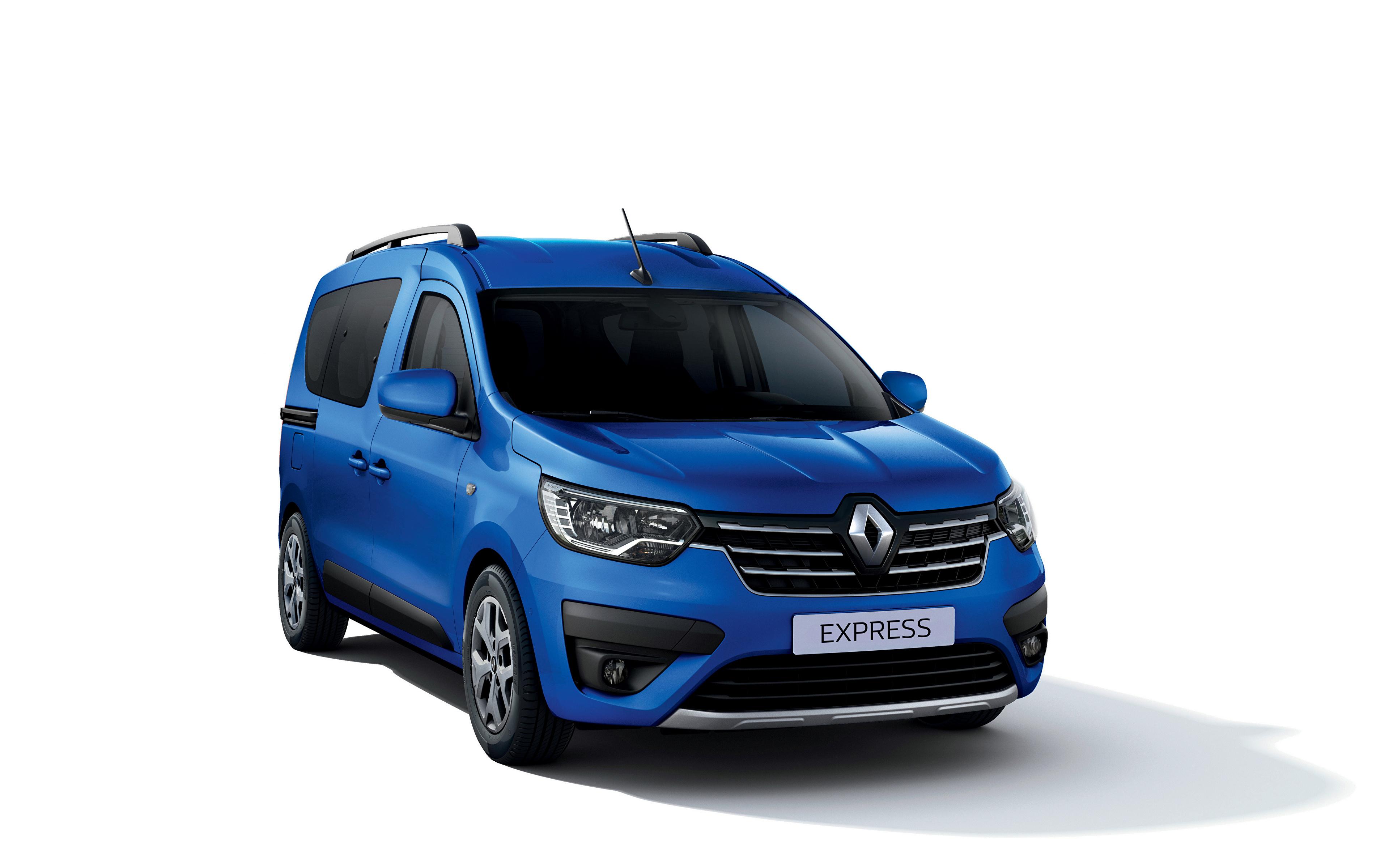 Desktop Hintergrundbilder Renault Express, 2021 Ein Van Blau automobil Metallisch Weißer hintergrund 3840x2400 auto Autos