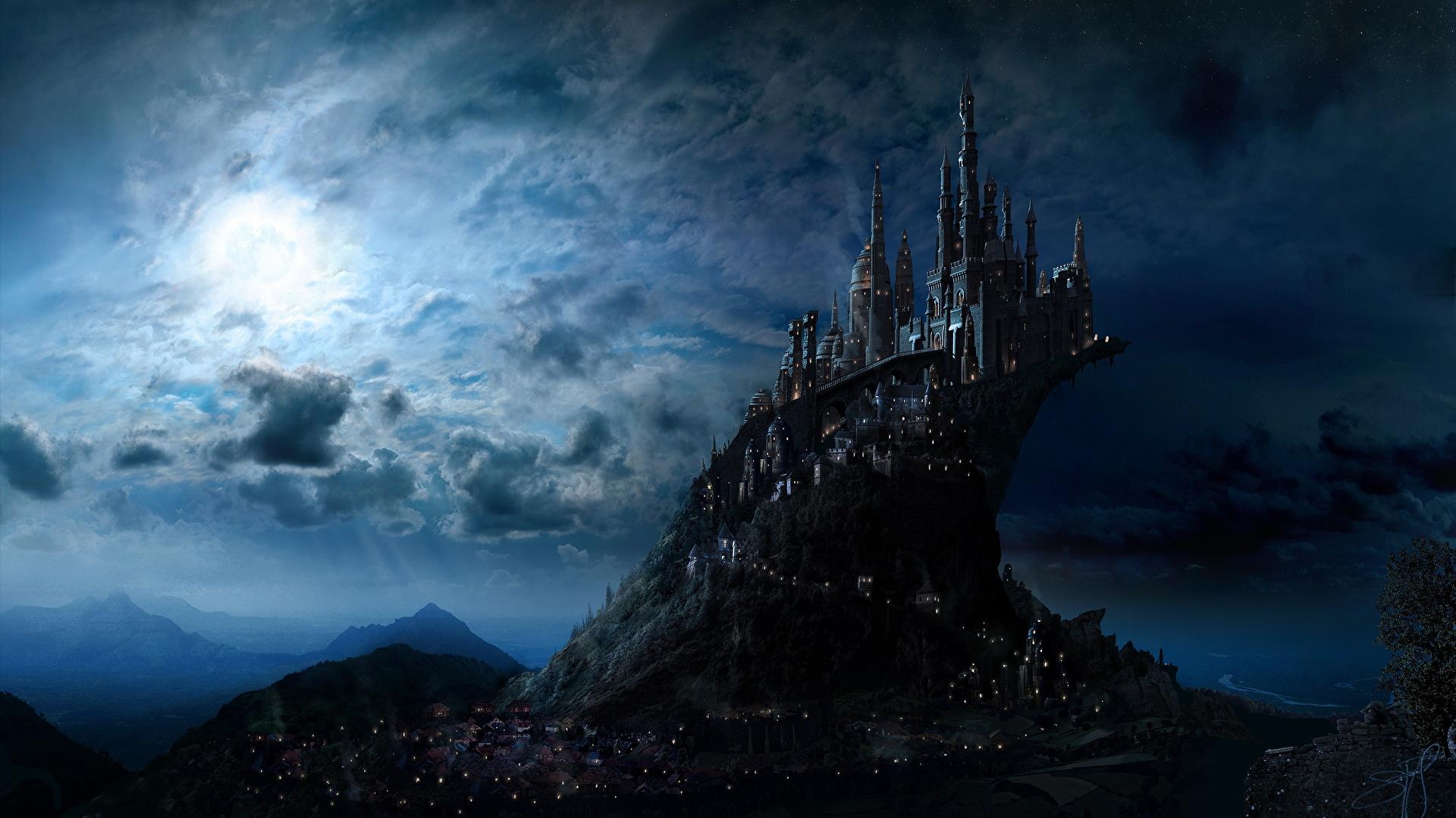 壁紙 1920x1080 ハリー ポッター 城 幻想的な世界 Hogwarts 夜