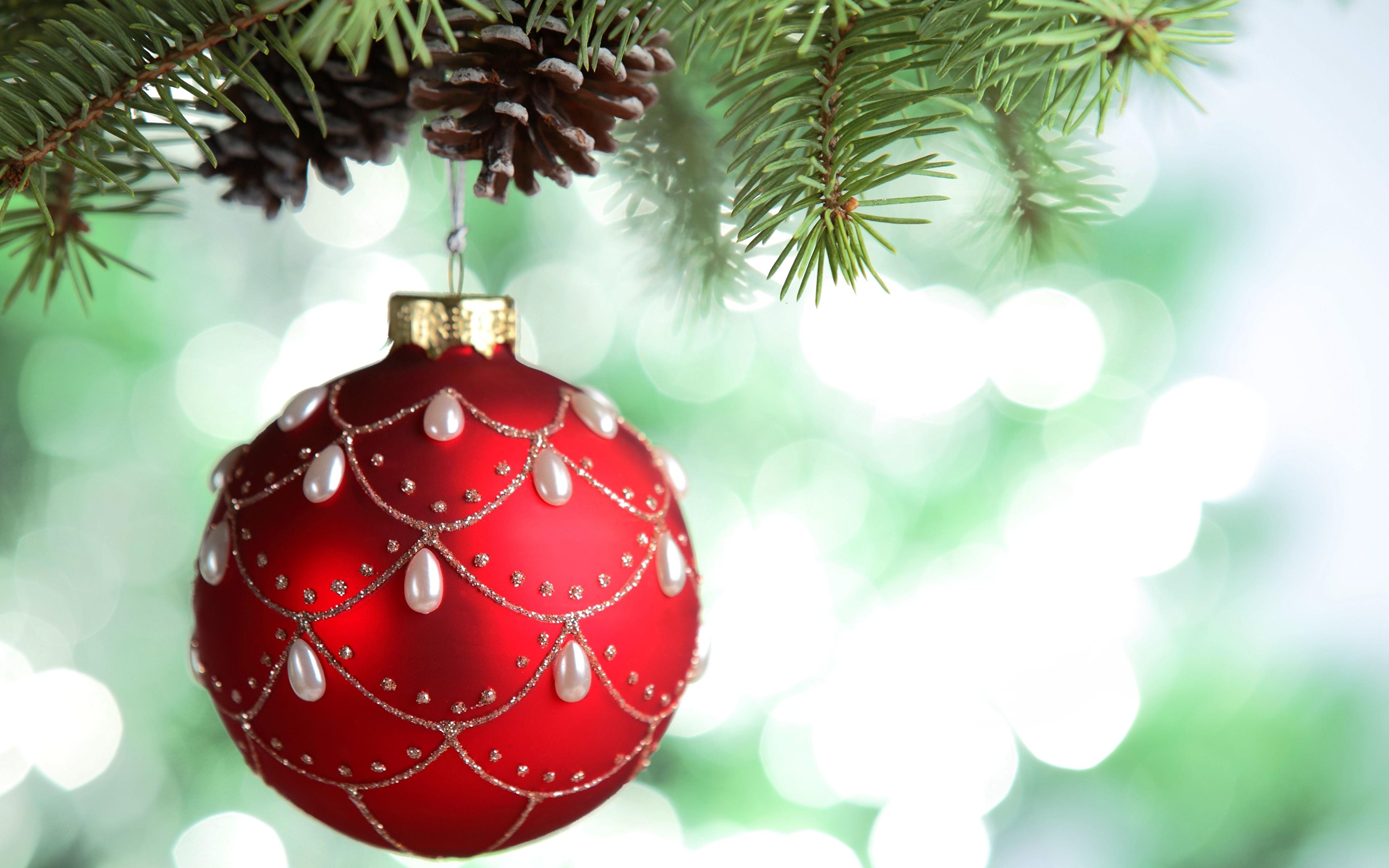 Weihnachtsbaum Ast.Fotos Neujahr Weihnachtsbaum Ast Kugeln Zapfen Feiertage 3840x2400
