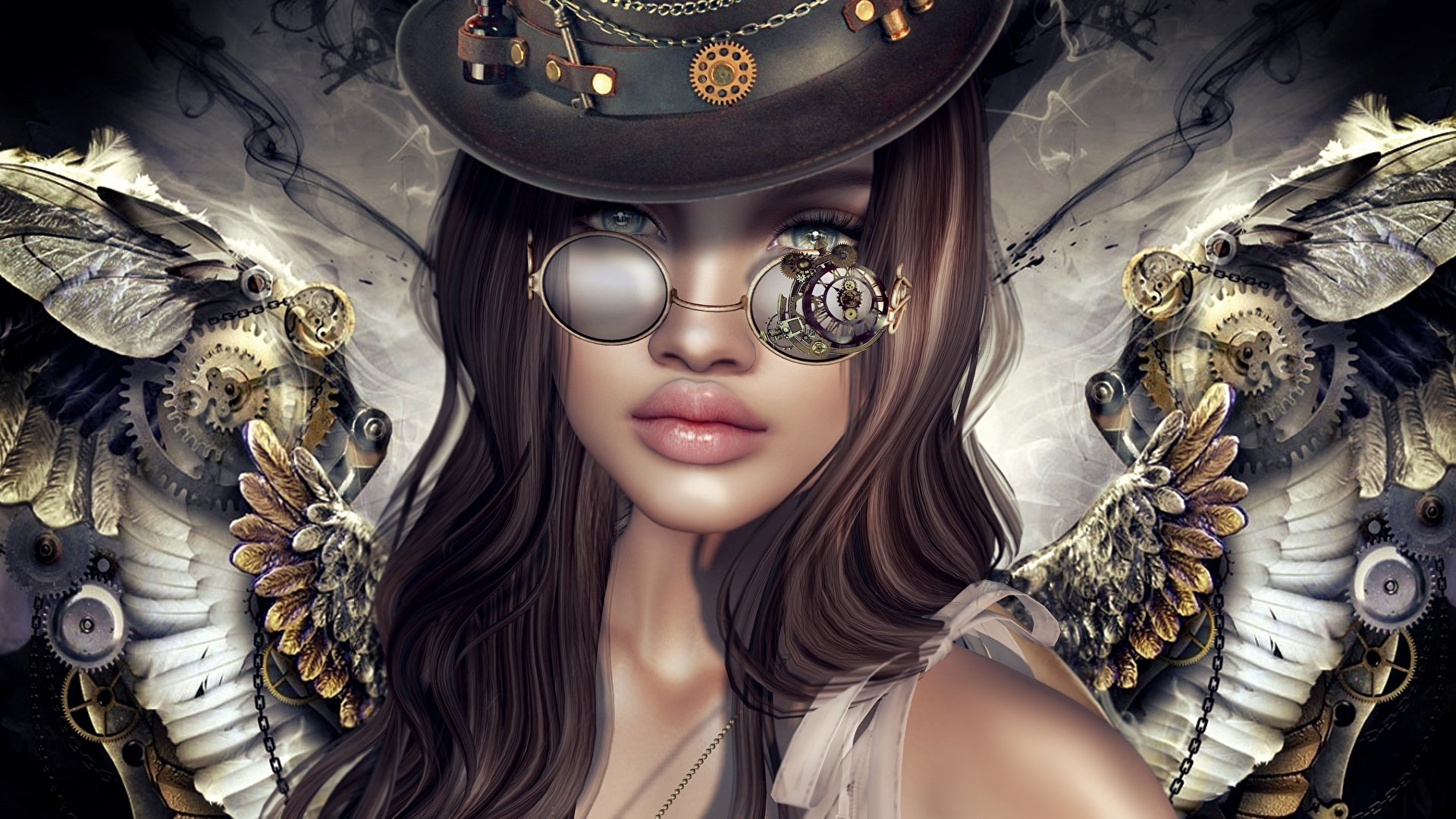 Photos Steampunk Girls Fantasy 3d Graphics Angel 1920x1080