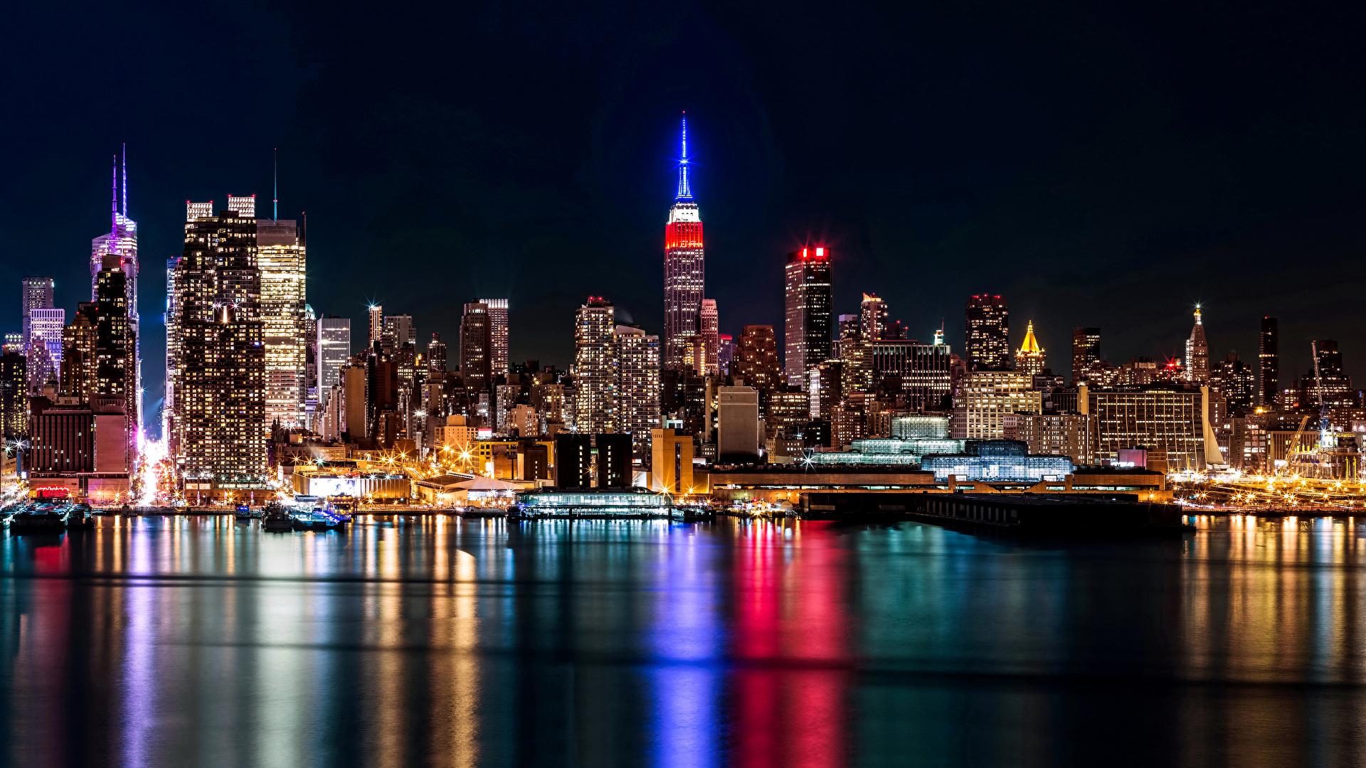 Desktop Hintergrundbilder New York City Usa Nacht Flusse 1920x1080