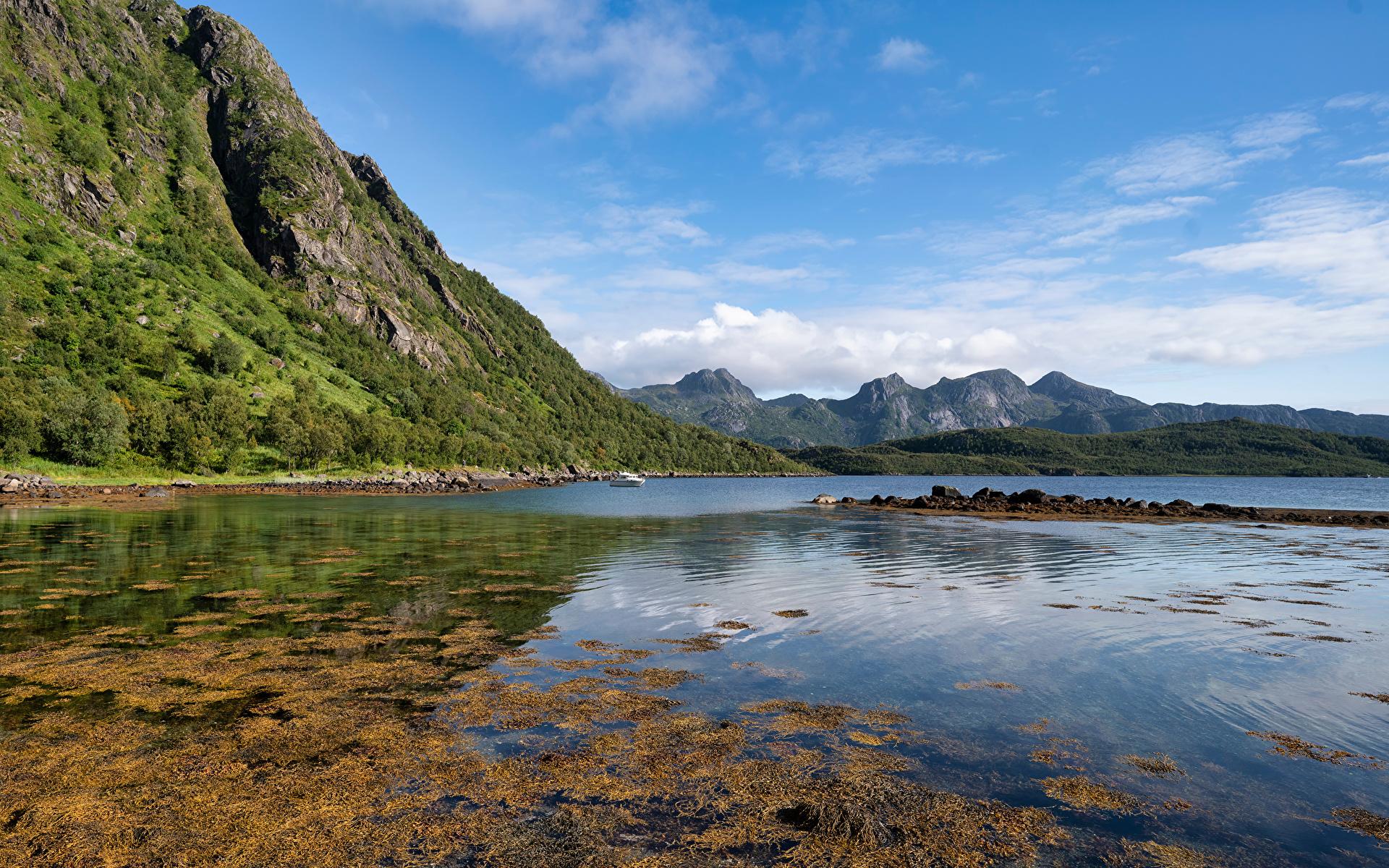 Fotos Norwegen Troms, Grunnfjorden Fjord Natur Gebirge 1920x1200 Berg