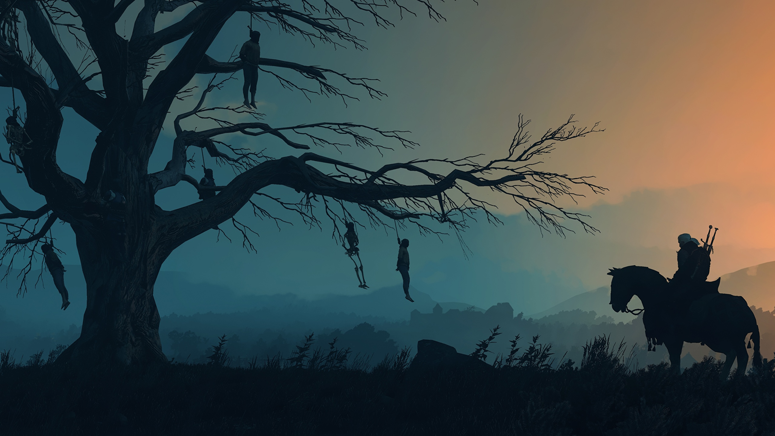 Picture The Witcher 3 Wild Hunt Horses Silhouette Games 2560x1440