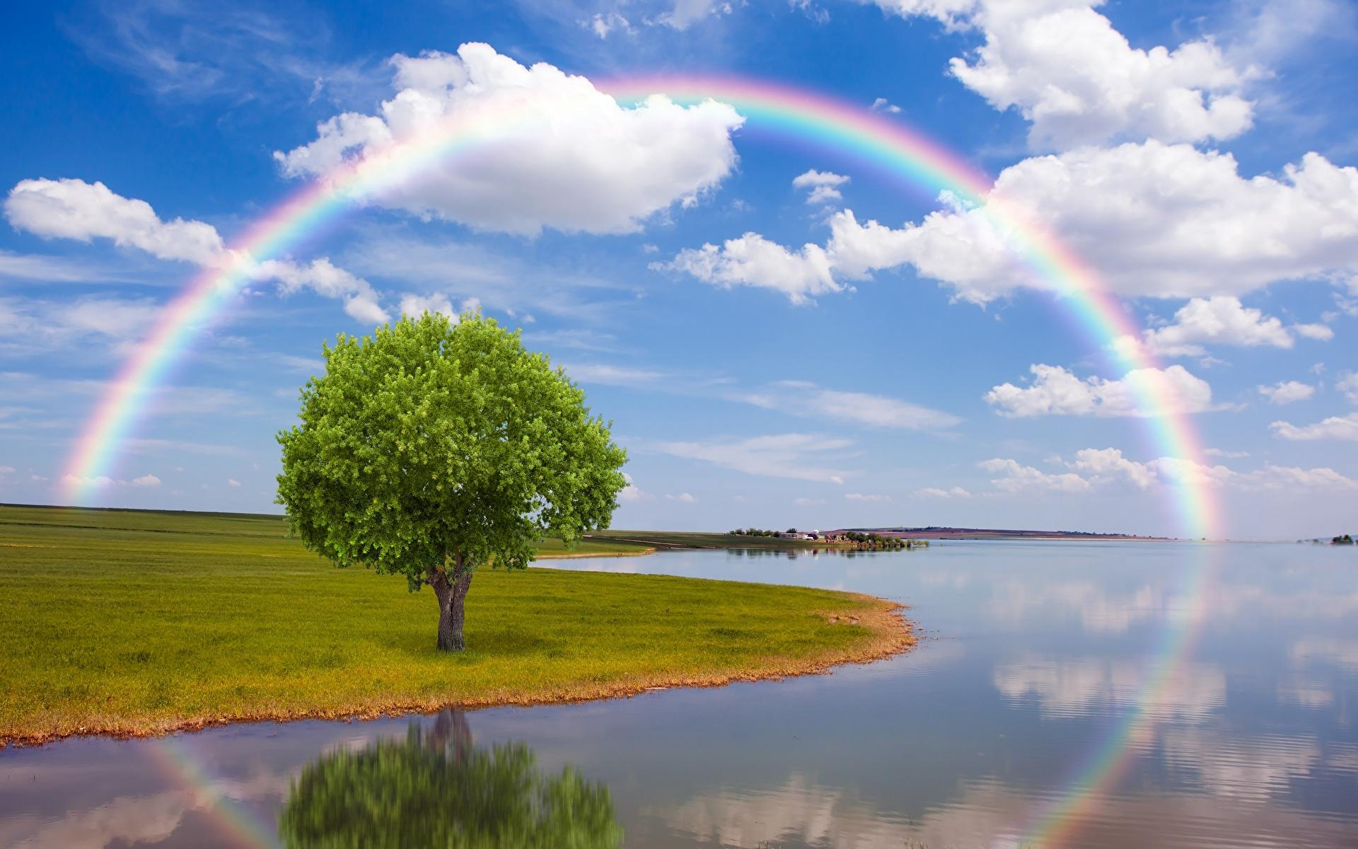 Bilder von Natur Regenbogen Himmel Flusse Wolke Bäume 1920x1200 Fluss