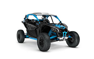 Bilder ATV Blau Weißer hintergrund Can-Am Maverick X rc Turbo R