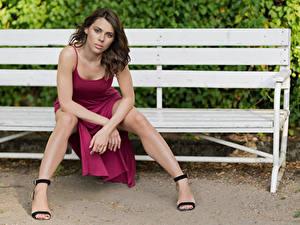 Hintergrundbilder Bank (Möbel) Sitzend Bein Kleid Blick Model Agnieszka Borkowska