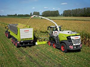 Desktop hintergrundbilder Landwirtschaftlichen Maschinen Felder Mähdrescher 2018-20 Claas Jaguar 960 Terra Trac