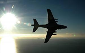 Fotos Flugzeuge Silhouetten Sonne Luftfahrt