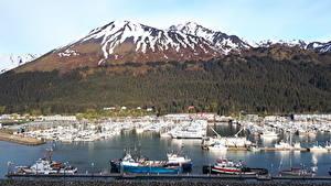 Image Alaska USA Mountains Forests Berth Yacht Snow Bay Seward Cities