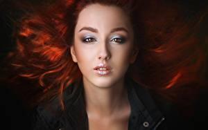 Hintergrundbilder Gesicht Starren Schöne Rotschopf Schminke Alexander Drobkov-Light, Anastasia Germanova junge frau