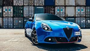 Desktop hintergrundbilder Alfa Romeo Vorne Blau Hatchback, Giulietta Sport, 2017 Autos