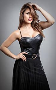 Fotos Pose Braunhaarige Kleid Hand Haar Starren Ana Maria Mädchens