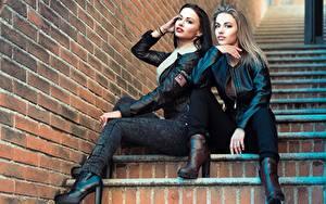 Hintergrundbilder Treppen 2 Sitzend Blondine Hand Bein Jacke Model Anastasia Listratova Mädchens