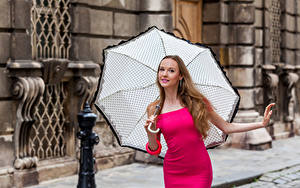 Bilder Pose Kleid Regenschirm Starren Anastasia Mädchens