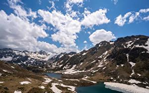 Fotos Andorra Gebirge See Himmel Wolke Schnee Tristaina Lakes Natur