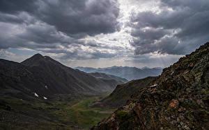 Desktop hintergrundbilder Andorra Gebirge Stein Wolke Lichtstrahl Ransol Natur