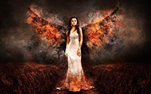 Hintergrundbilder Engeln Flamme Kleid Fantasy Mädchens