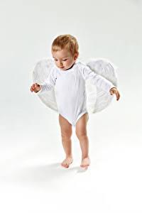 Fotos Engeln Grauer Hintergrund Junge Flügel Kinder