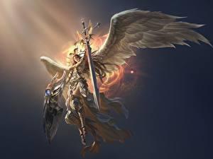 Bilder Engeln Krieger LOL Schwert Flügel Rüstung victoria Fantasy Mädchens