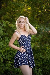 Hintergrundbilder Bokeh Blondine Pose Hand Kleid Anjeli Mädchens