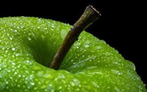 Bilder Äpfel Hautnah Tropfen Grün Lebensmittel