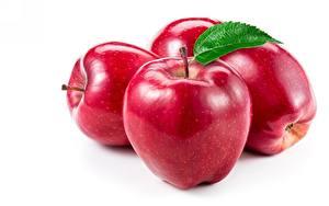 Fotos Äpfel Nahaufnahme Rot Weißer hintergrund das Essen
