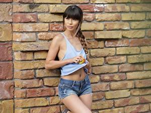 Desktop hintergrundbilder Äpfel Mauer Aus Ziegel Braune Haare Zopf Blick Hand Shorts Mona Kim junge Frauen