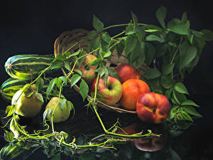 Wallpapers Apples Peaches Pears Branches Food