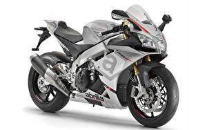 Bilder Aprilia Weißer hintergrund 2015-16 RSV4 RR Motorräder
