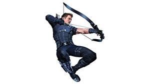 Fotos Bogenschütze Mann Jeremy Renner Comic-Helden Weißer hintergrund Bogen Waffen Sprung Hawkeye Film Prominente
