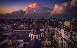 Hintergrundbilder Argentinien Haus Abend Von oben Wolke Dach Buenos Aires Städte
