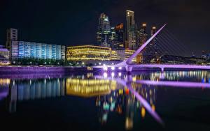 Bilder Argentinien Haus Fluss Brücken Nacht Spiegelung Spiegelbild Buenos Aires Städte