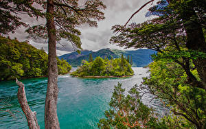 Desktop hintergrundbilder Argentinien Gebirge Insel Bucht Bäume Chubut Patagonia Natur