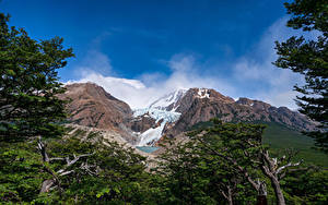 Hintergrundbilder Argentinien Gebirge Himmel Bäume Patagonia
