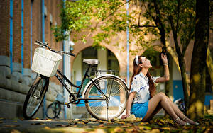 Hintergrundbilder Asiaten Herbst Sitzend Bein Rock Bluse Blatt Fahrräder Bokeh junge frau
