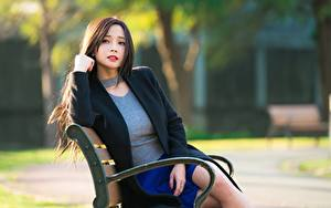 Hintergrundbilder Asiaten Bank (Möbel) Bokeh Braune Haare Starren Sitzend Mädchens