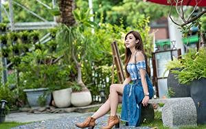 Hintergrundbilder Asiatische Bank (Möbel) Sitzen Bein Braunhaarige Mädchens