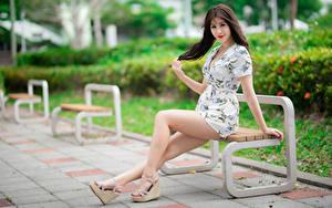 Hintergrundbilder Asiatisches Bank (Möbel) Sitzen Bein Kleid Braunhaarige Starren Mädchens