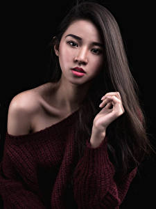 Image Asiatic Black background Sweater Hair Staring young woman