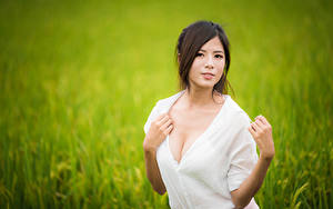 Bilder Asiaten Bluse Hand Blick Mädchens