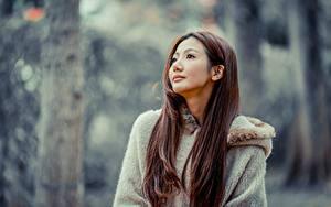 Hintergrundbilder Asiatische Bokeh Braune Haare Starren