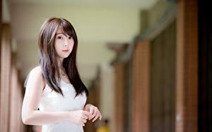 Hintergrundbilder Asiaten Bokeh Braunhaarige Blick Hand