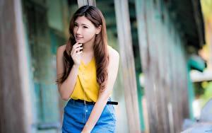 Hintergrundbilder Asiaten Unscharfer Hintergrund Braune Haare Starren Hand