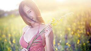 Hintergrundbilder Asiatische Bokeh Braune Haare Starren Hand junge frau