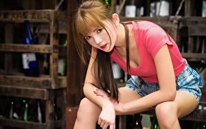Fotos Asiaten Unscharfer Hintergrund Braunhaarige Blick Sitzen Hand Shorts