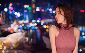 Bilder Asiaten Unscharfer Hintergrund Braunhaarige Nacht