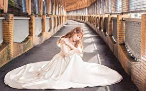 Bilder Asiaten Unscharfer Hintergrund Braune Haare Sitzen Kleid Weiß junge Frauen