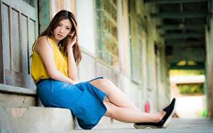 Bilder Asiatische Unscharfer Hintergrund Braune Haare Rock Sitzt