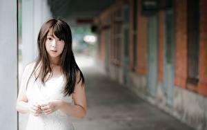Fotos Asiatisches Bokeh Brünette Hand Starren Mädchens