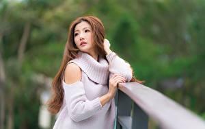 Fotos Asiatisches Unscharfer Hintergrund Blick Sweatshirt Hand Braune Haare Mädchens